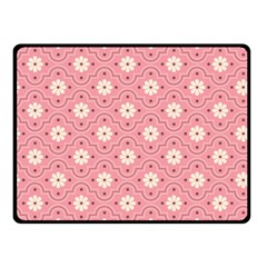 Pink Flower Floral Double Sided Fleece Blanket (Small)