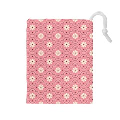 Pink Flower Floral Drawstring Pouches (Large)