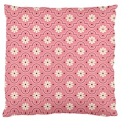 Pink Flower Floral Large Flano Cushion Case (Two Sides)