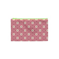 Pink Flower Floral Cosmetic Bag (XS)