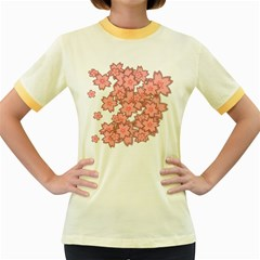 Flower Floral Pink Women s Fitted Ringer T Shirts