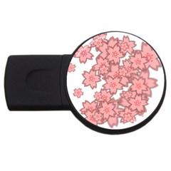 Flower Floral Pink USB Flash Drive Round (1 GB)