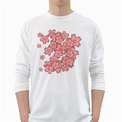 Flower Floral Pink White Long Sleeve T-Shirts