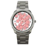 Flower Floral Pink Sport Metal Watch Front