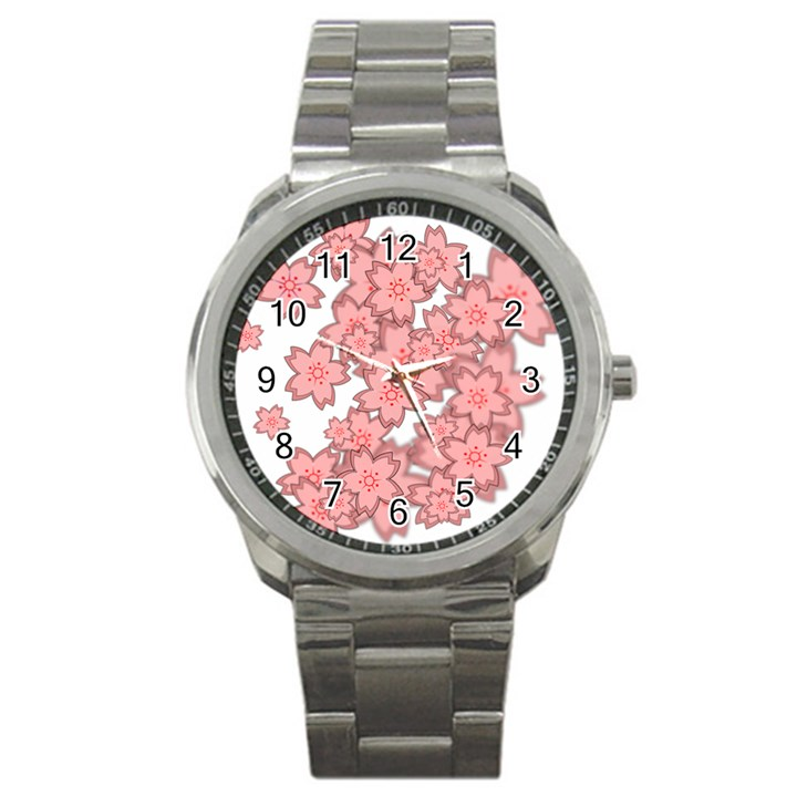 Flower Floral Pink Sport Metal Watch