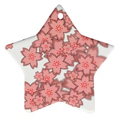 Flower Floral Pink Star Ornament (Two Sides)