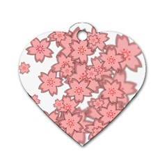 Flower Floral Pink Dog Tag Heart (Two Sides)