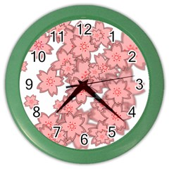 Flower Floral Pink Color Wall Clocks