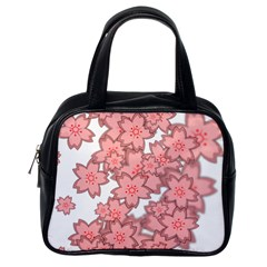 Flower Floral Pink Classic Handbags (One Side)