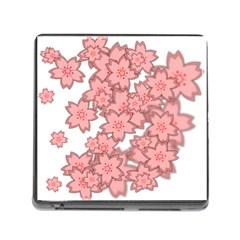Flower Floral Pink Memory Card Reader (Square)