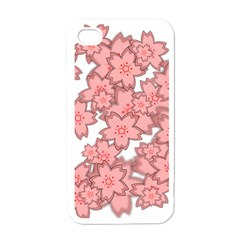 Flower Floral Pink Apple iPhone 4 Case (White)