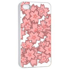 Flower Floral Pink Apple Iphone 4/4s Seamless Case (white)