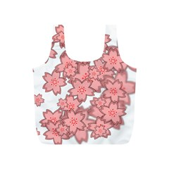 Flower Floral Pink Full Print Recycle Bags (S)