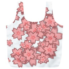 Flower Floral Pink Full Print Recycle Bags (L)