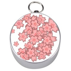 Flower Floral Pink Silver Compasses