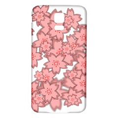 Flower Floral Pink Samsung Galaxy S5 Back Case (White)