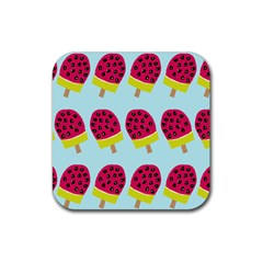 Watermelonn Red Yellow Blue Fruit Ice Rubber Square Coaster (4 pack)