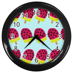 Watermelonn Red Yellow Blue Fruit Ice Wall Clocks (black)
