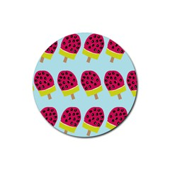 Watermelonn Red Yellow Blue Fruit Ice Rubber Coaster (round)