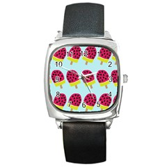 Watermelonn Red Yellow Blue Fruit Ice Square Metal Watch