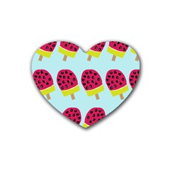 Watermelonn Red Yellow Blue Fruit Ice Rubber Coaster (Heart)
