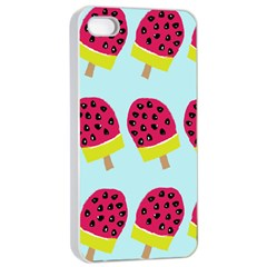 Watermelonn Red Yellow Blue Fruit Ice Apple iPhone 4/4s Seamless Case (White)