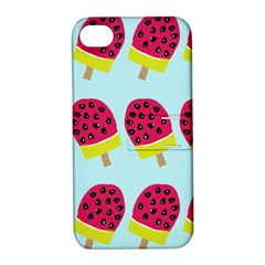 Watermelonn Red Yellow Blue Fruit Ice Apple iPhone 4/4S Hardshell Case with Stand