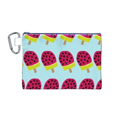 Watermelonn Red Yellow Blue Fruit Ice Canvas Cosmetic Bag (M)