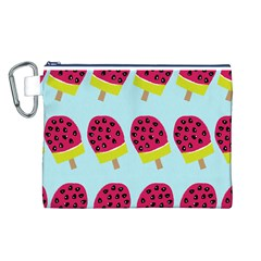 Watermelonn Red Yellow Blue Fruit Ice Canvas Cosmetic Bag (L)