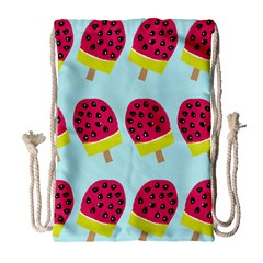 Watermelonn Red Yellow Blue Fruit Ice Drawstring Bag (Large)