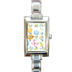 Rose Flower Floral Blue Yellow Gold Butterfly Animals Pink Rectangle Italian Charm Watch