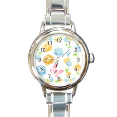 Rose Flower Floral Blue Yellow Gold Butterfly Animals Pink Round Italian Charm Watch