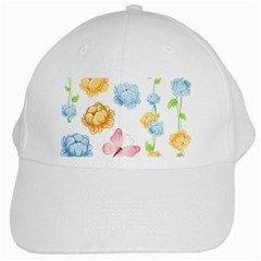 Rose Flower Floral Blue Yellow Gold Butterfly Animals Pink White Cap