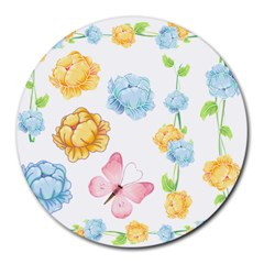 Rose Flower Floral Blue Yellow Gold Butterfly Animals Pink Round Mousepads