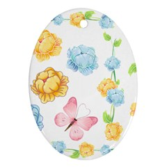 Rose Flower Floral Blue Yellow Gold Butterfly Animals Pink Ornament (Oval)