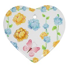 Rose Flower Floral Blue Yellow Gold Butterfly Animals Pink Ornament (Heart)