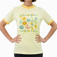 Rose Flower Floral Blue Yellow Gold Butterfly Animals Pink Women s Fitted Ringer T-Shirts