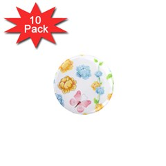 Rose Flower Floral Blue Yellow Gold Butterfly Animals Pink 1  Mini Magnet (10 pack)