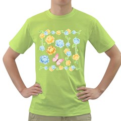 Rose Flower Floral Blue Yellow Gold Butterfly Animals Pink Green T-Shirt