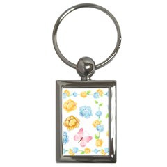 Rose Flower Floral Blue Yellow Gold Butterfly Animals Pink Key Chains (Rectangle)