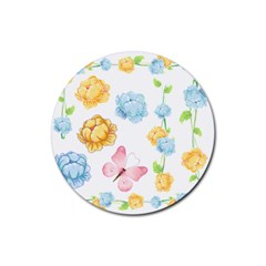 Rose Flower Floral Blue Yellow Gold Butterfly Animals Pink Rubber Coaster (Round)
