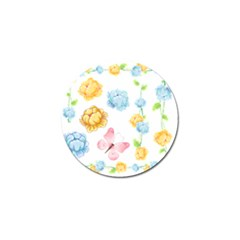 Rose Flower Floral Blue Yellow Gold Butterfly Animals Pink Golf Ball Marker