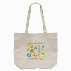 Rose Flower Floral Blue Yellow Gold Butterfly Animals Pink Tote Bag (Cream)