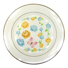 Rose Flower Floral Blue Yellow Gold Butterfly Animals Pink Porcelain Plates