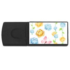 Rose Flower Floral Blue Yellow Gold Butterfly Animals Pink Usb Flash Drive Rectangular (4 Gb)