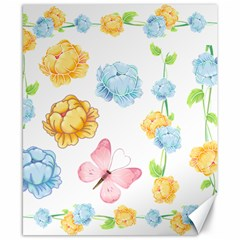 Rose Flower Floral Blue Yellow Gold Butterfly Animals Pink Canvas 8  x 10