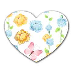 Rose Flower Floral Blue Yellow Gold Butterfly Animals Pink Heart Mousepads