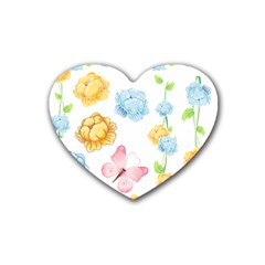 Rose Flower Floral Blue Yellow Gold Butterfly Animals Pink Heart Coaster (4 pack)