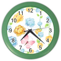 Rose Flower Floral Blue Yellow Gold Butterfly Animals Pink Color Wall Clocks