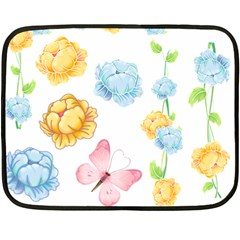 Rose Flower Floral Blue Yellow Gold Butterfly Animals Pink Double Sided Fleece Blanket (mini)